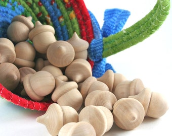 100 Wood Acorns | Unfinished Wooden Acorn for Waldorf Nature Table, Rustic Wedding Decor, Fall Decoration