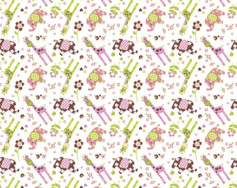 Per Yard, Best Friends Elephants and Giraffes Fabric From Springs Creative