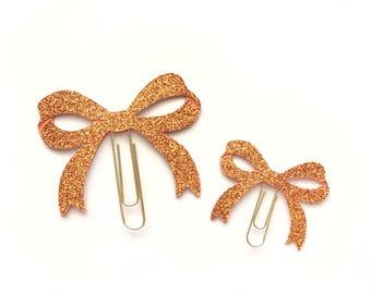 Burnt Orange Bow Paper Clip