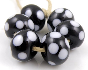 Black and White Polka Dots SRA Lampwork Handmade Artisan Glass Donut/Round Beads Made to Order Set of 6 8x12mm