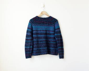 90s Striped Sweater - Blue Purple 90s Sweater Vintage Sweater 90s Clothing - Textured Sweater - Hippie Sweater - Boho Sweater - Women's L