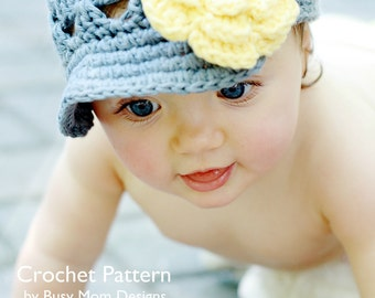 Crochet PATTERN - Breezy Brimmer - Newsboy, Open-Weave Beanie - ALL sizes included: newborns to adults - Easy - PDF 115 - Sell what you Mak