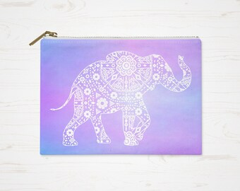 Boho Cosmetic Bag, Bohemian Purse, Accessory Pouch, Modern Colorful Pouch, Large Pencil Case, Small Makeup Bag, Elephant Toiletry Bag