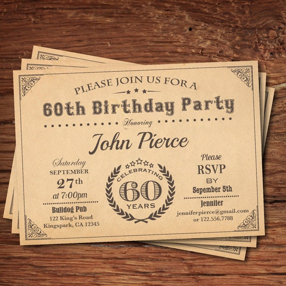 60 geburtstag einladung mann retro vintage meilenstein 30. Black Bedroom Furniture Sets. Home Design Ideas
