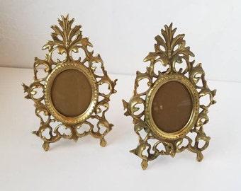 Victorian  Ormolu Brass Frames Art Nouveau Easel Ornate