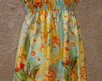 SALE Vintage Sundress Cotton Sateen Print 1960s New Designer Original Item # 2028 Resort/Summer Apparel