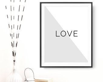 "Printable Art ""Love"" Digital Print Poster Wall Decor Motivational Love Quote Inspirational Wall Art Love Printable Digital Download"