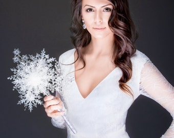 Limited Edition Winter Wedding - One of a Kind Crystal Snowflake Bridal Bouquet for a Winter Wonderland Wedding - Christmas Wedding