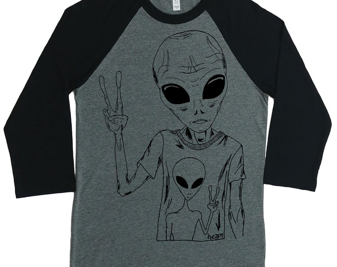 Womens Baseball Tee - Unisex Fit - Hipster Space Alien Shirt - Raglan Tees for Woman - Sci Fi Shirts - Outer Space Nerd Tee Shirts