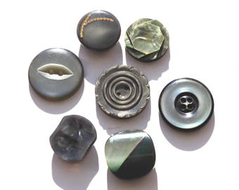 Set of 7 beautiful green gray vintage buttons mother of Pearl.