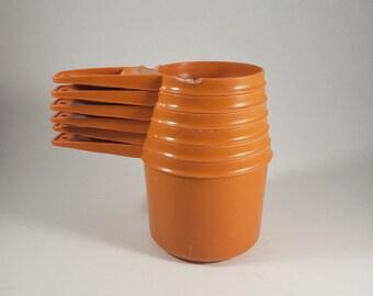 Vintage Tupperware Measuring Cup Set  | Set of 6 Orange Tupperware Measuring Cups  |  Vintage Kitchen  |  Orange Kitchen  |  Retro Kitchen