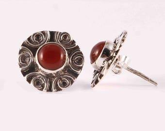 Carnelian 92.5 sterling silver earring
