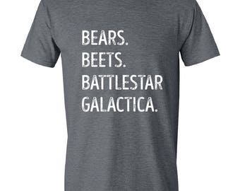 The Office, Bears, Beets, Battlestar Galactica, Mens T-Shirt, Funny quotes, Tv Show, Mens, GRAY.