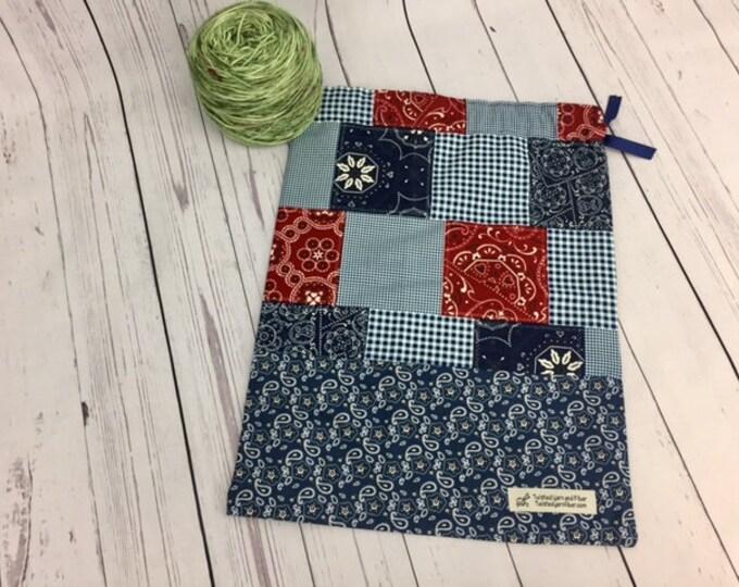 Bandana, Knitting or Crochet Project Bag, Yarn Bag, Fiber Project Bag, Sock knitting bag, Shawl project bag