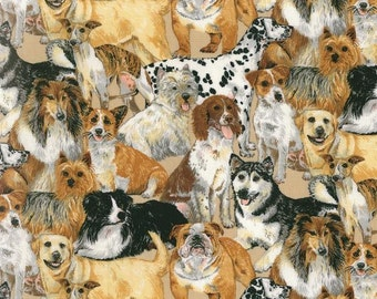 Patchwork Quilting Fabric Nutex Allover Dogs