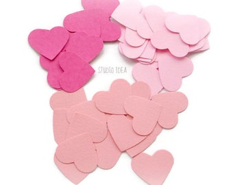 120 Mixed Pink  Heart  Cut-outs, Confetti, Table Decoration - Set of 120 pcs