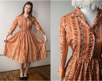 Vintage 1960s Paisley Printed Silk Day Dress w/ Rhinestone Buttons - Size M