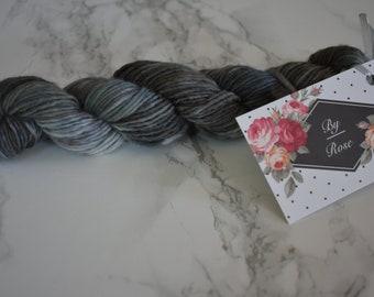 "Mini skein / ""Slate"" hand dyed wool / Superwash merino / sock yarn"