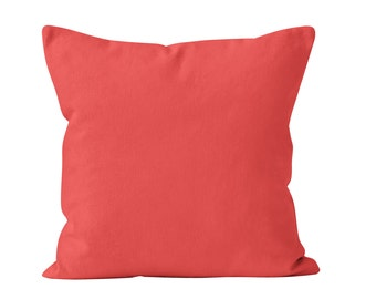 Solid Coral Pillow Cover, Coral Pillow Covers, Coral Cushion Covers, Coral Pillows Covers, Coral Throw Pillow Cover, Salmon Pillow Cover _M