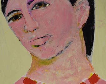 Small Painting. Acrylic Mixed Media Portrait Painting. Painting Original. Apartment Wall Art.