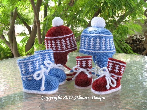 Knitting Pattern Set - Knit Pom-Pom Ear Flap Hat & High-Top Baby Booties Baby Toodler Child Teen Adult Hat Baby Boots Pom-Pom Hat Winter