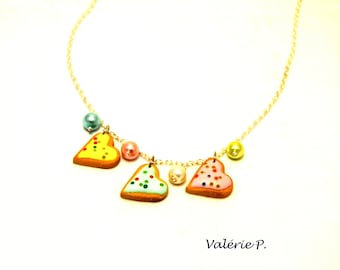 Charm necklace polymer clay hearts cookies