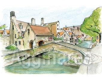 Bruges Belgium / art print from an original watercolor painting