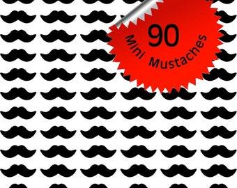 90 (ea) 2.25 inch Mini Mustache Stickers, Movember, Envelope Seals, Decoration