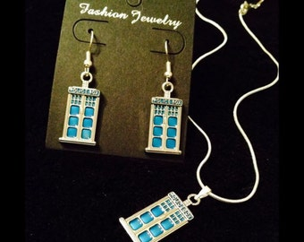 80p UK P+P handmade Tardis Necklace and Earrings Set 16inch silver chain dr who fandom jewellery set inspired *UK Seller*