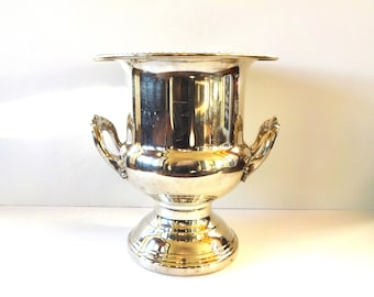 Vintage Silver Plate / Silverplate Ornate Footed Champagne Bucket with Handles and Gadrooned Rim