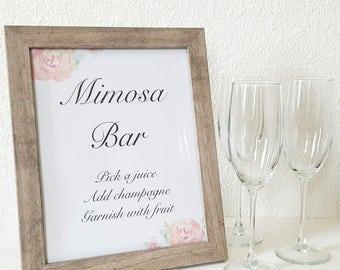 Mimosa Bar Sign, Wedding Sign, Bridal Shower Mimosa Sign, Mimosa Bar Printable, Printable Sign, Downloadable PDF, Brunch Mimosa Sign