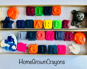 Ring Bearer & Flower Girl Handmade Gifts // Wedding favors // crayon box // unique wedding favors // homegrowncrayons //