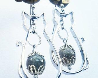 Silver Cat die-cut charm earrings with labradorite - Japanese findings