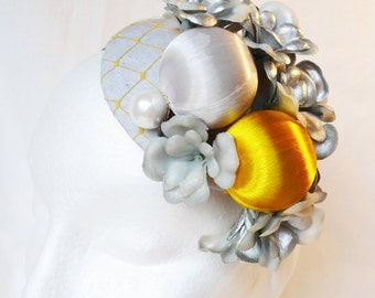 Silver and yellow fascinator burlesque hat wedding bridesmaid ascot races goodwood vintage unique
