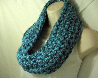 Bright Blue and Grey Multicolor Cowl Infinity Circle Scarf Neckwarmer