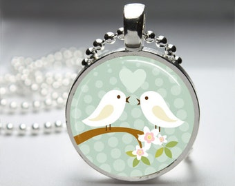 Love Birds Round Pendant Necklace with Silver Ball or Snake Chain Necklace or Key Ring