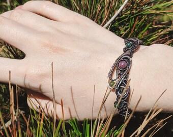 Copper bracelet - Wire wrapped bracelet - Boho bracelet - Boho style  - Gemstone bracelet