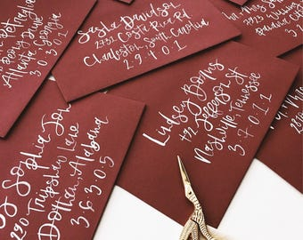 Modern Calligraphy Envelope Addressing | Hand Lettered Envelopes | Brush Calligraphy Envelope Addressing | Watercolor Envelope Addressing