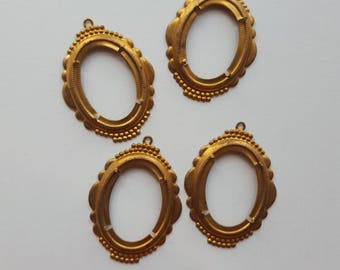 Vintage brass cabochons settings