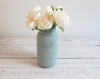 Large Mason Jar / Sage Green Mason Jar / Half Gallon Mason Jar / Country Chic Decor / Large Flower Vase