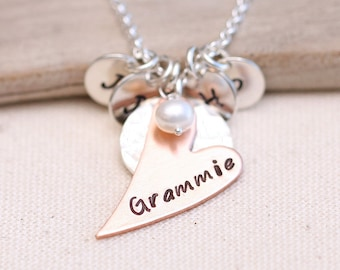 Personalized Nana Necklace, Mixed Metal Mother's Necklace, Gift for women, Grandmother Necklace, Personalized Heart Necklace