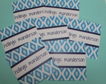 Ikat Blues Personalized Enclosure Cards / Stickers- Light Blue and Navy