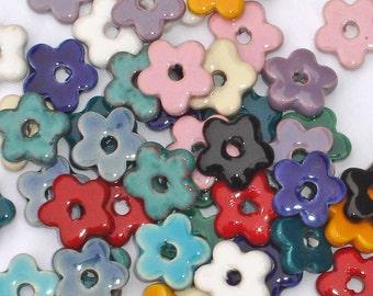 SALE 20 x glazed flat 15mm Greek ceramic flower washer spacer beads