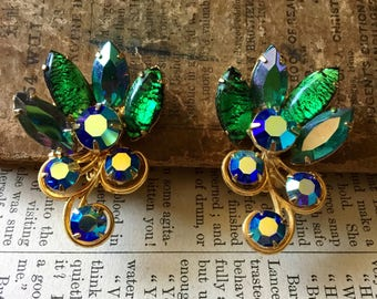 Unusual Vintage AB Rhinestones Peacock Colors Art Glass Green and Blues Clip on Earrings