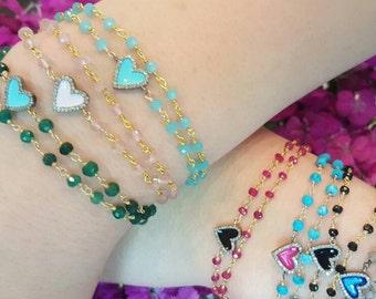 Enamel Diamond Heart Bracelet - Pave Diamonds Bracelet - Diamond Heart Charm - Charm Bracelet - Stackable Bracelet - Boho Jewelry - Gift