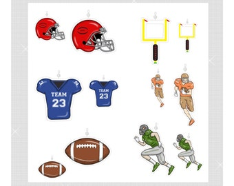 Football....Bling Charm Ornaments.....Set of 12