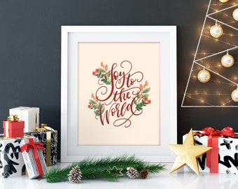 Hand lettered Christmas print, Calligraphy christmas, christmas art print, christmas canvas Christmas decoration Holiday decor handlettering