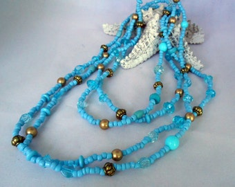Light Blue & Golden Seed Bead Necklace -  Fashion Jewelry - Summer Necklace - Extralong - Beaded - Gift Idea - Multilayered - Bracelet