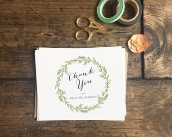 Custom Wedding Thank you cards. Wreath fall Green Thank You Cards For Wedding. Personalized Cards Thank you Card Set. Wedding Stationery
