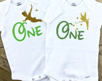Twins ... Peter Pan and Tinkerbell First Birthday bodysuit.. disney inspired .. first birthday smash cake outfit .. infant bodysuit